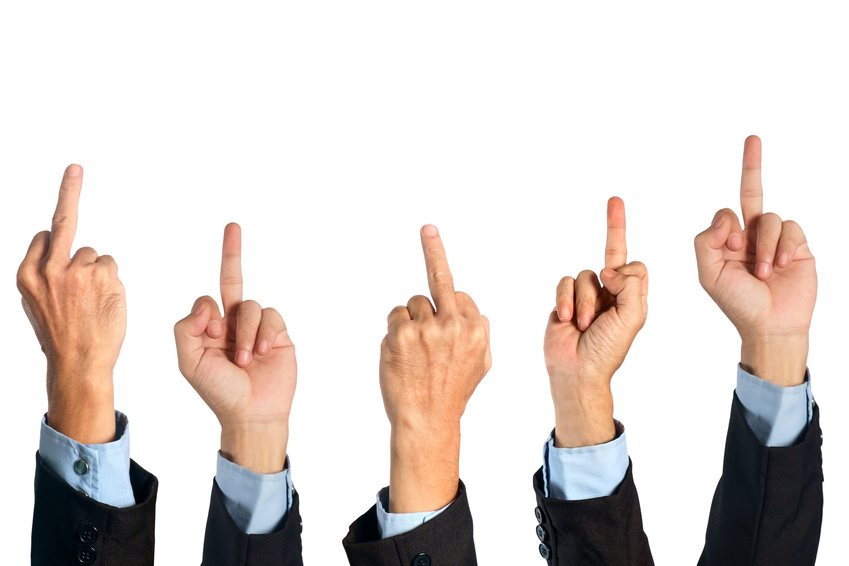 Middle finger / Hand of businessman show middle finger on white background.
